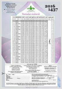 calendrier ramadan 2016